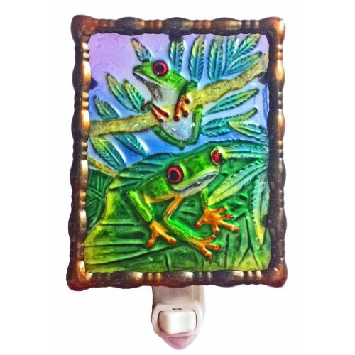 Hot Continental Art Center NL9702 Hand Painted Glass with Night Light Tree Frog, 5.2 by 5.6 by 1.6-Inch for cheap
