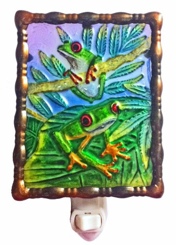 - Continental Art Center NL9702 Hand Painted Glass with Night Light Tree Frog, 5.2 by 5.6 by 1.6-Inch