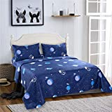 Bedlifes Space Sheets Queen Sheet Set Kids Bedding Set Outer Space Deep Pocket Bed Sheets Flat Sheet& Fitted Sheet with 2×Pillowcases 4PCS Navy Queen