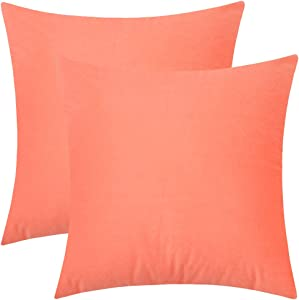 """Rythome Set of 2 Kids Decorative Throw Pillow Cover for Bedding, Comfortable Accent Cushion Sham Case for Couch Sofa, Soft Solid Velvet with Zipper Hidden - 12""""x12"""", Living Coral"""