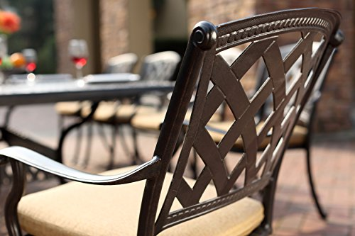 """Darlee 201630-7PC-30RE Cast Aluminum 7 Piece Rectangle Dining Set & Seat Cushions, 42"""" by 72"""", Antique Bronze - Weather-resilient hand made durable cast aluminum construction Powder-coated with elegant multi-step hand finish Sesame-colored seat cushion made of 100% polyester Chairs solid cast aluminum basket weave design seat, table includes removable umbrella hole cover, assembly required - patio-furniture, dining-sets-patio-funiture, patio - 51iU5W3l7kL -"""