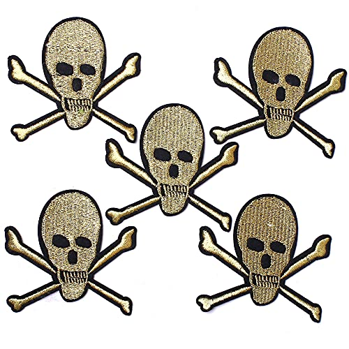 AXEN 5PCS Golden Skull Patches, Embroidered Iron on Patches DIY Accessories, Cute Sewing Applique for Jackets, Hats, Backpacks, Jeans