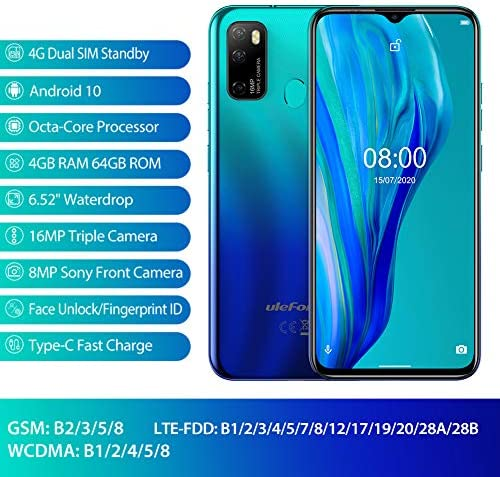 """Unlocked Smartphones Ulefone Note 9P, 16MP + 5MP + 2MP, Dual Sim Phones Unlocked, Andorid 10 4GB+64GB ROM, 6.52"""" FHD, Fingerprint Face Detection, 4500mAh high Capacity Battery, AT&T, T-Mobile - Blue WeeklyReviewer"""