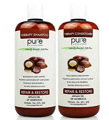 (PURE Shampoo and Conditioner Set, HUGE 26.5 oz. Each Extra Strength Formula with Keratin & Dead Sea Minerals, Moisturizes Dry & Damaged Hair (Argan Oil Shampoo & Conditioner))