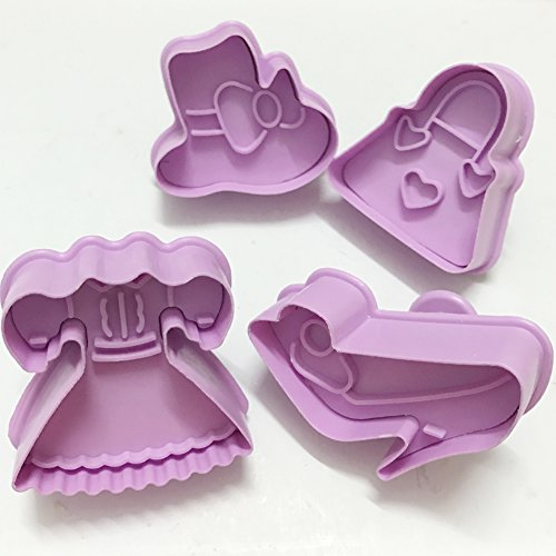 Fruit and Woman's Dress Theme Cookie Cutter ,3D Plunger Cutters Set For Fondant Sugar Cookie Biscuit Pastry Cake Topper Decorating Pack of 12