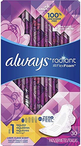 Always Radiant Feminine Pads for Women, Size 1, 90 Count, Regular Absorbency, Light Clean Scent (30 Count, Pack of 3…