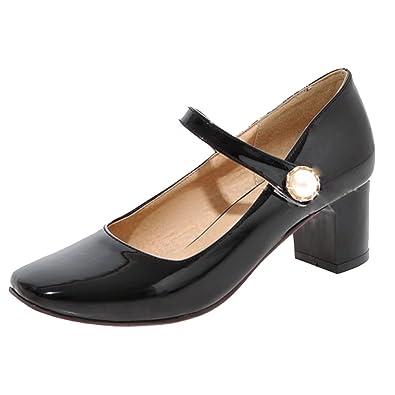 Aiyoumei Damen Chunky Heel Lack Mary Jane Pumps Mit 5cm Absatz Und