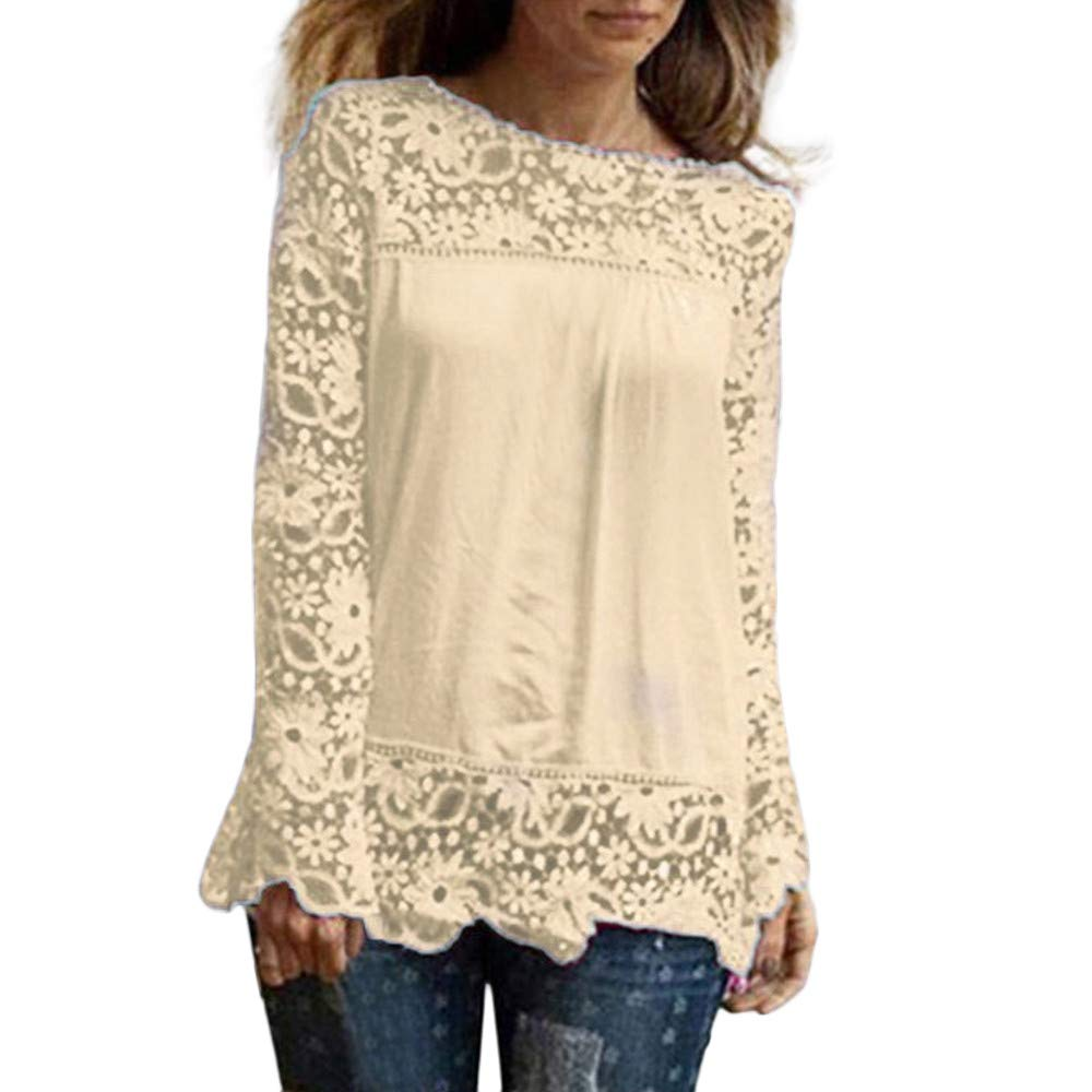 Women Plus Size Hollow Out Lace Splice Long Sleeve Shirt Casual Blouse Loose Top(Beige ,Medium)