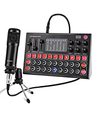 Condenser Microphone, ALPOWL Condenser Microphone Bundle with V8s Live Sound Card for Live Streaming, Singing, YouTube, Gaming, BM 800 Condenser Microphone Kit with Cardioid Design for Gamer