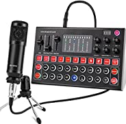 Condenser Microphone, ALPOWL Condenser Microphone Bundle with V8s Live Sound Card for Live Streaming, Singing,