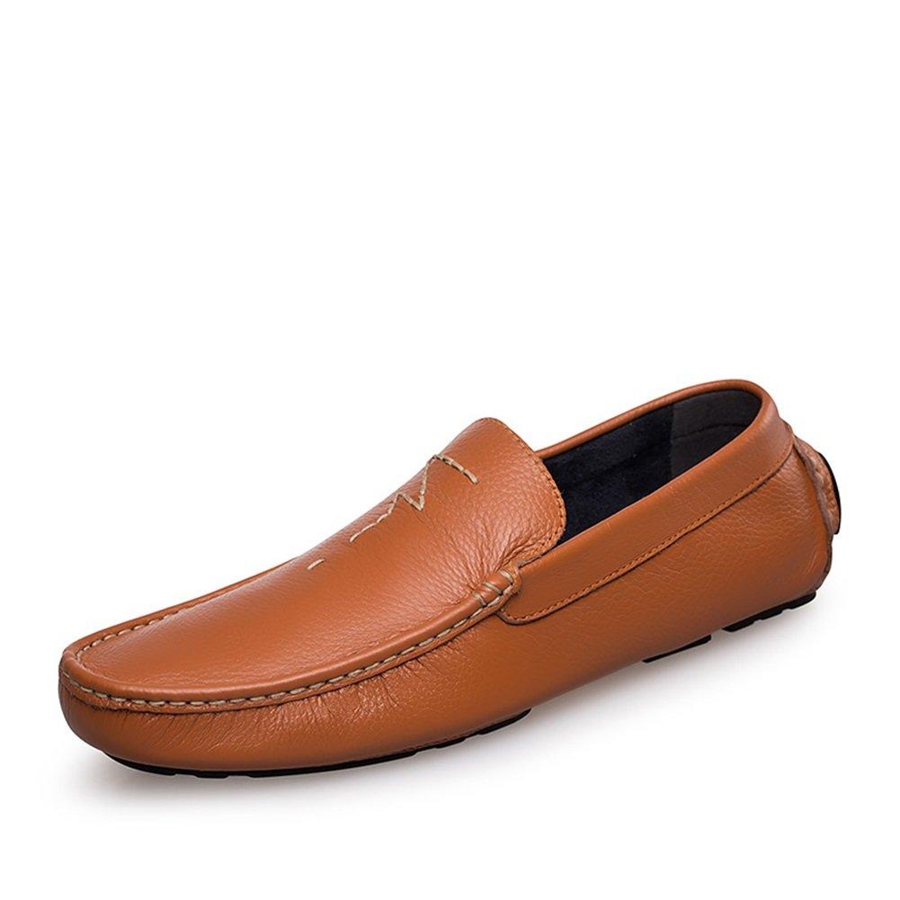 HUAN Zapatos de Hombre de Cuero Primavera Verano Suela Ligera Mocasines y Slip-Ons Para Zapatos de Conducción Informales Azul, Marrón 40 EU|Brown