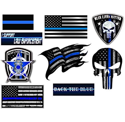 Mega Variety Pack of Thin Blue Line Police Officer Blue Lives Matter American Flag Vinyl Decal Sticker Car Truck BLM(9 Pack) (Pick Up Lines To Use On Cops)
