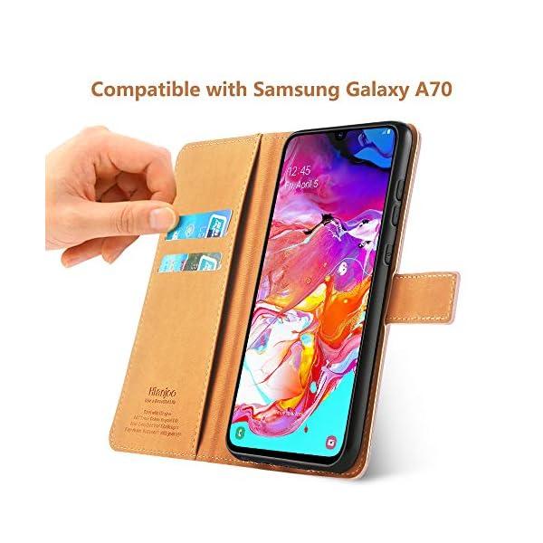 Hianjoo Funda Compatible con Samsung Galaxy A70, Suave PU Cuero Carcasa con Flip Case Cover, Cierre Magnético, Función…