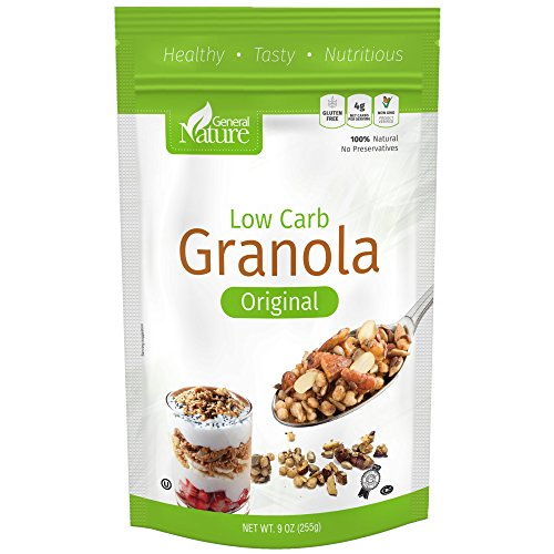 - Low Carb Granola Cereal, Gluten Free, Sugar Free, 4g Net Carbs, No Sugar Added, Non-GMO, No Artificial Sweeteners, %100 Natural, No Preservatives, Kosher 9 oz