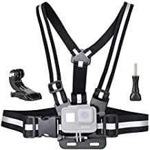 SOONSUN Chest Mount Harness for GoPro Hero 6, 5, 4, Session, 3+, 3, 2, 1 Cameras – Fully Adjustable Chest Strap Belt High Reflective Vest, Includes J-hook Buckle and Thumb Screw