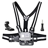 SOONSUN Chest Mount Harness for GoPro Hero 6, 5, 4, Session, 3+, 3, 2, 1 Cameras - Fully Adjustable Chest Strap with High Reflective Belt, Includes J-Hook Buckle and Thumb Screw