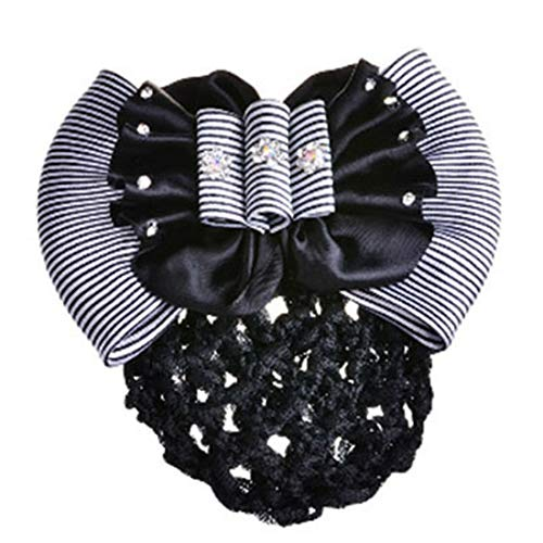 NEW Women Satin Bow Hair Clip with Snood Net Barrette Bun Cover Pink Black Brown (Model - 32)
