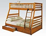 ACME 02018 Jason Twin/Full Bunk Bed with Drawers, Honey Oak Finish For Sale