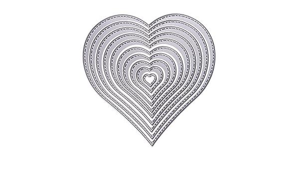 Queta Corazón Troquelado, Acero al Carbono Superior Troqueles Metal Scrapbooking Emossing Stencil Card Die para DIY Tarjetas de Invitación Cutter Molde ...