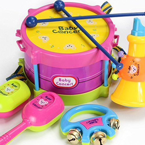 ROWAG 5 Pieces Baby Drum Set for Boy Girl Educational Kids Rattle and Rock Musical Instrument Playset Toys (Little Girl Drum Set)