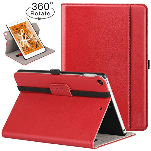 Ztotop iPad Mini 5 Swivel Case, [360 Rotating] Genuine Leather Folio Stand Case Cover with Multi-Angle Viewing, Pocket, Auto Wake/Sleep for iPad Mini 5th Gen 7.9-inch 2019 - Red