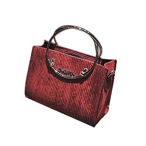 Sac à bandoulière, Sansee Sacs d'épaule de Crossbody de laine de décoration ronde de mode des femmes avec le sac à main Rouge