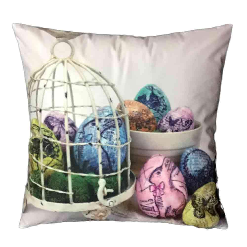 Pgojuni Easter Sofa Bed Home Decoration Festival Pillow Cover Easter Eggs Pillow Case Cushion Cover (D)