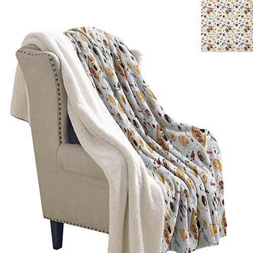 Suchashome Modern Warm Breathable Comforter for Girls Kids Adults Lunch Table with Croissant Bagels Coffee Cheese Chocolate Watercolor Artwork Berber Fleece Blanket 60x78 Inch Sand Brown White