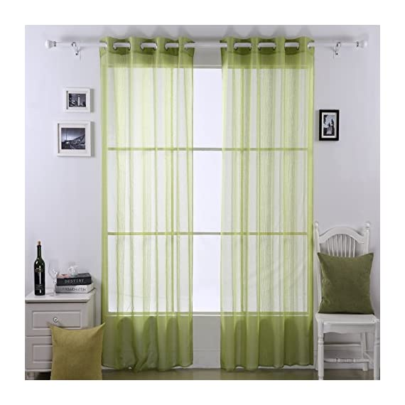 Deconovo Linen Look Vertical Stripe Grommet Window Sheer Curtains for Silding Glass Door,2 Panels, 52x63, Green - Material: Our beautiful linen look sheer curtains are made of 100 percent imported high quality polyester Each package includes two panels They have a super soft, silky, drapery, and pleasant touch which can give a luxury look to any rooms - living-room-soft-furnishings, living-room, draperies-curtains-shades - 51iU7JgOtLL. SS570  -