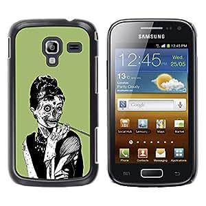 QCASE / Samsung Galaxy Ace 2 I8160 Ace II X S7560M / mujer zombie cráneo elegante humo dibujo del arte / Delgado Negro Plástico caso cubierta Shell Armor Funda Case Cover