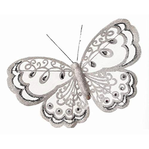 Regency International, Set of 6, Holiday or Wedding White Faux Gem and Glitter Butterflies