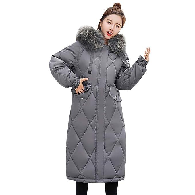 Xmiral Abrigo de Plumón Pluma de Mujer Chaqueta Encapuchado Pelo Efecto para Invierno Caliente Grueso Plumifero