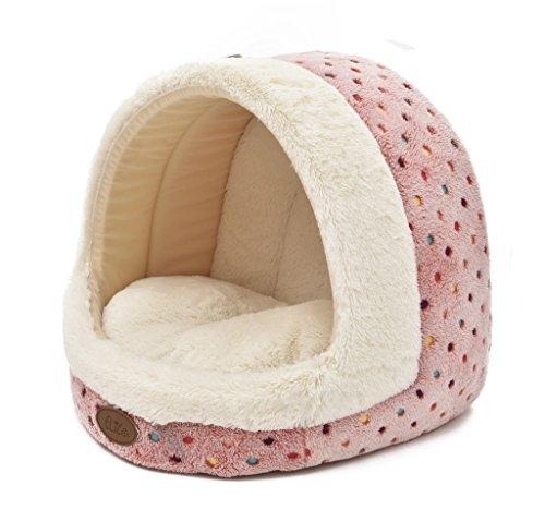 TOFERN Cute Colorful Dots Non-slip Washable Self-heating Fleece Pet Bed Puppy Dog Cat Igloo House with Waterproof Base, igloo, Pink-S