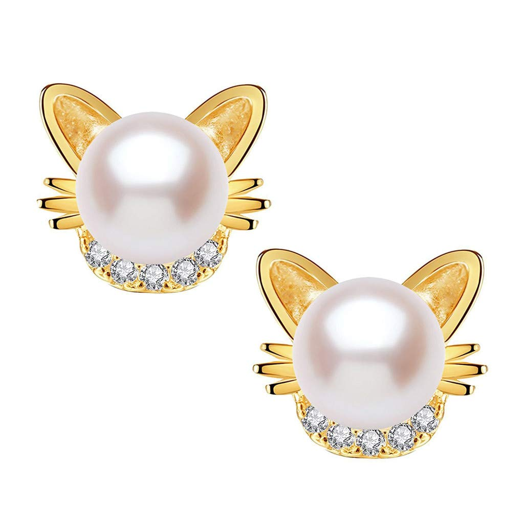 Minshao 1 Pair Girl's Diamond Pearl Earrings Popular Girl's Cute Cat Ear Stud (Silver)