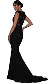 Sleekwear Womens Evening Black Floral Fishtail Gown Evening Wear Party Club