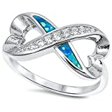 Lab Created Blue Opal & Cz Heart Shape Infinity .925 Sterling Silver Ring Sizes 5-10