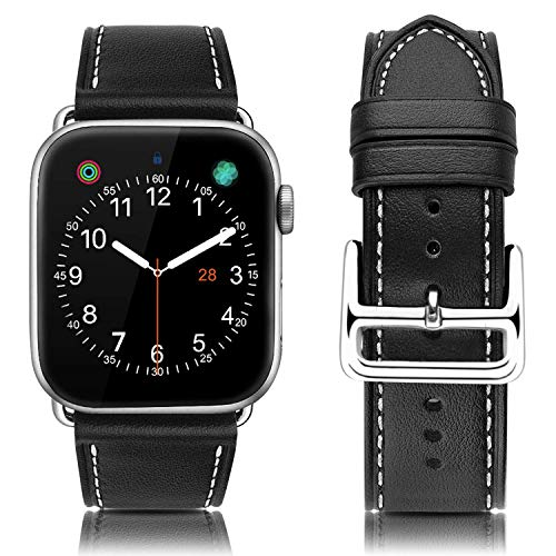 MroTech Compatible with Apple Watch Bands 42mm 44mm, Genuine Leather Watch Bands Replacement Strap Compatible with iWatch Series 4 (44mm) Series 3 Series 2 Series 1 (42mm) Sport and Edition,Black