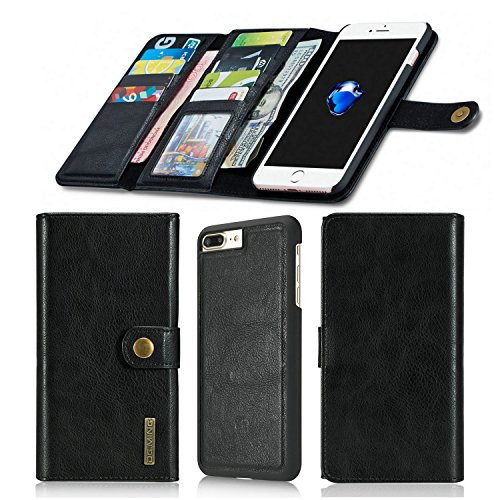 iPhone 8 Plus iPhone 7 Plus Wallet Case, SINIANL Leather Detachable Magnetic Protective Flip Folio Case With Credit Card Slots Holder Cover Snap Button for iPhone 8 Plus iPhone 7 Plus Black