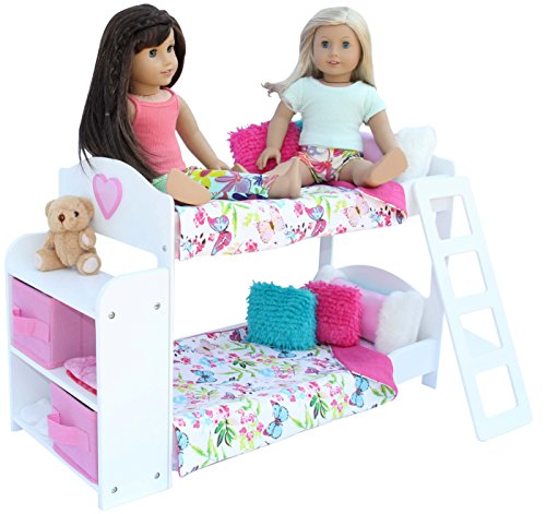 20 Pc. Bedroom Set for 18 Inch American Girl Doll. Includes: Bunk Bed, Bookshelf, x2 Bedding Sets, x2 Pajama Sets and more…