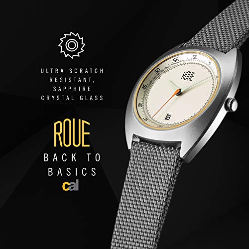 Roue Cal Men's Watch, 1930s Racing Style, 41.5mm Sand Blasted Stainless Steel case, Silicone + Nylon Front/Leather Back, Sapphire Crystal with Anti-Reflective Treatment Glass