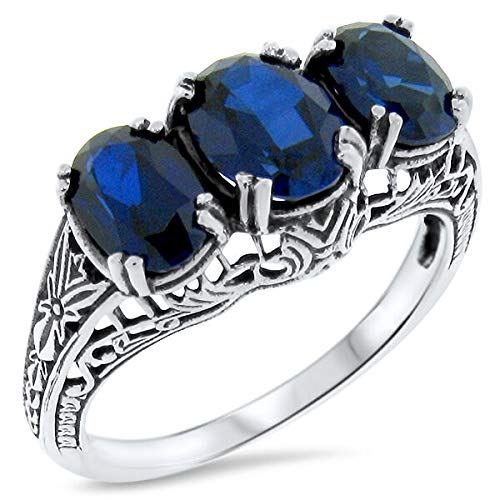 Blue LAB Sapphire Antique Deco Style .925 Sterling Silver Ring Size 5.75 KN-3674 from VELEZO