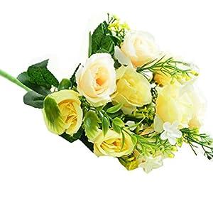 NXDA Artificial Flowers, 1 bunch of Peony Fake Silk Flowers for Home Floor Garden Office Wedding Decor, 10 Flowers 87