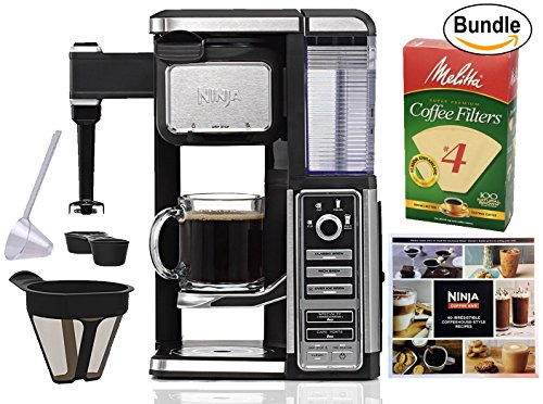 Ninja Coffee Bar Single-Serve System (CF111), Melitta Cone Coffee Filters, Natural Brown, No. 4, 100-Count Filters & Zonoz One-Tablespoon Plastic Clever Scoop (Bundle) by NinjaShark