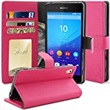 Xperia Z3+ Case, Tauri [Stand Feature] Premium Wallet Leather Case with Stand, ID & Credit Card Pockets Flip Cover For Sony Xperia Z3+ (Hot Pink)