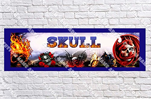 (Personalized Skulls Banner - Includes Color Border Mat, With Your Name On It, Party Door Poster, Room Art Decoration - Customize)