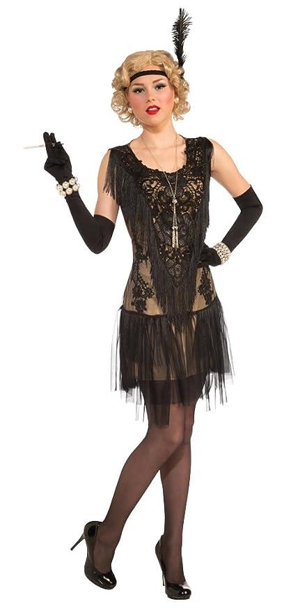 20er Jahre Charleston Flapper Damen Kostum Kleid Schwarz Jazz Mafia