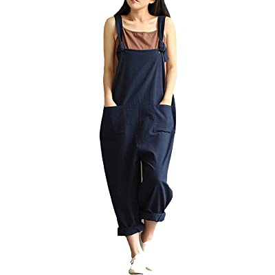Aedvoouer Women's Jumpsuits Overalls Plus Size Wide Leg Loose Cotton Linen Baggy Bib Pants: Clothing