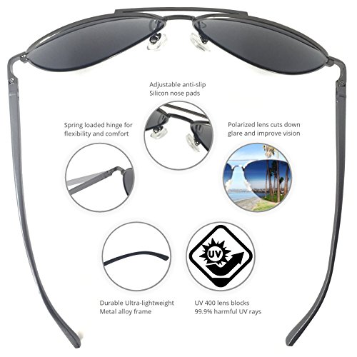 J+S Premium Ultra Sleek, Military Style, Sports Aviator Sunglasses, Polarized, 100% UV protection - Ash Grey Frame