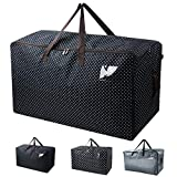 Waterproof Thick Over-sized Organizer Storage Bag with Strong Handles, Travelling Bag, College Carrying Bag, Camping Bag for Christmas, Festival Decorations, Washable (27.516.513.8'', Black Dot)