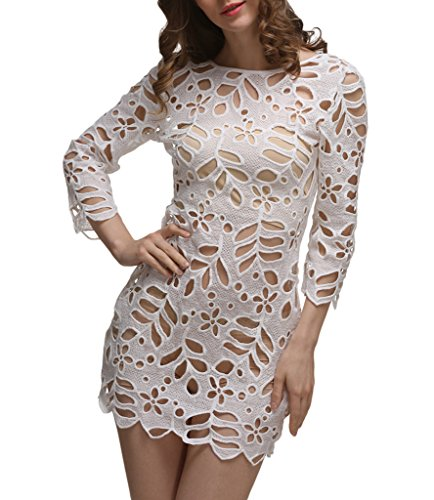 Femme Blanc See through Bigood Plage Manche Robe Longue Blouse Hollow g Sexy out 3ARjq54cL